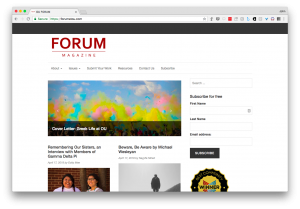 Screen shot of the student alternative magazine, the Forum at OU